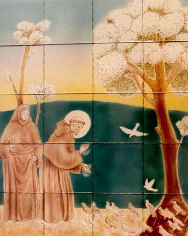 Mural of St. Francais on tile- Muralist Carolee Merrill