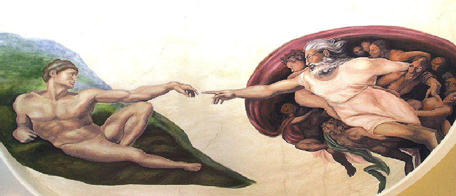 God Creating Adam Mural - Muralist Carolee Merrill