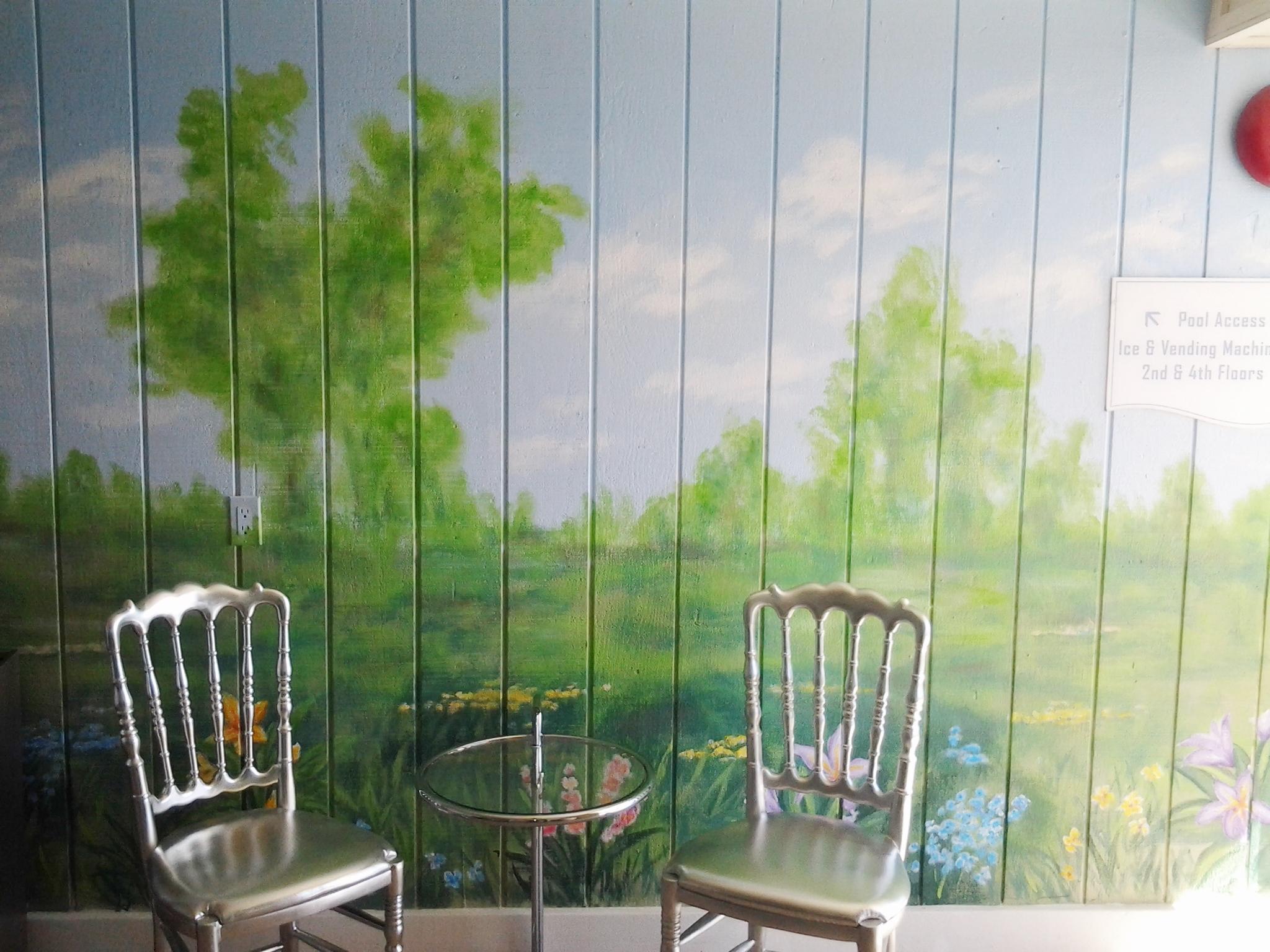 Carousel Hotel Elevator Mural- Muralist Carolee Merril