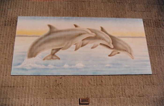 Dana Hills Dolphins Tile Mural - Muralist Carolee Merrill