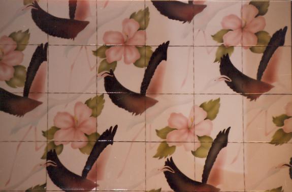 Flamingo Tile Mural - Muralist Carolee Merrill