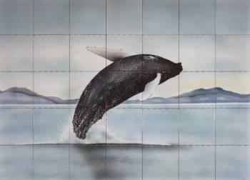Jumping Whale Tile Mural - Muralist Carolee Merrill