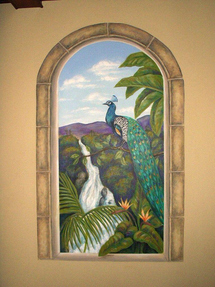 Peacock  Trompe L'oeil Mural - Muralist Carolee Merrill