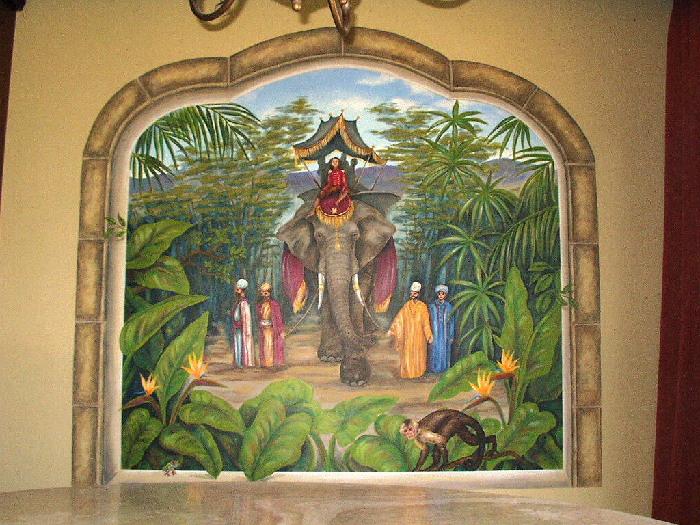 Elephant Trompe L'oeil Mural - Muralist Carolee Merrill