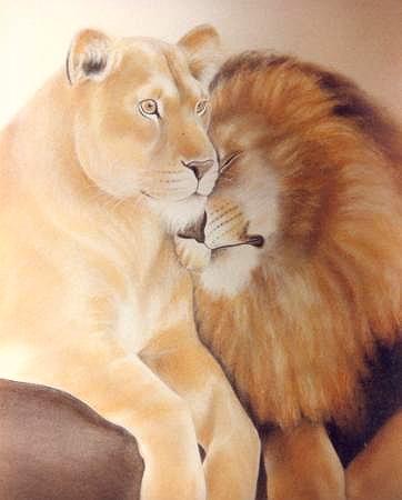 Lion Tenderness Mural Muralist Carolee Merrill