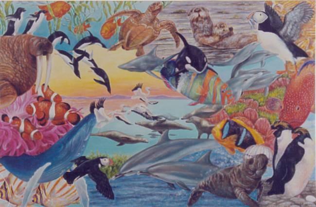 Aquatic Wonders Mural -  - Muralist Carolee Merrill